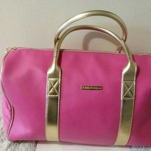 JUICY COUTURE HOT PINK AND GOLD TRAVEL BAG